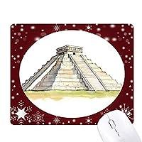 メソアメリカの階段ピラミッドでエル・カスティーリョ オフィス用雪ゴムマウスパッド