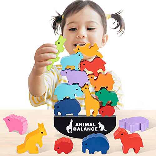 iValea Toys for 2 3 4 5 6 Year Old Girls Gifts  Wooden Building Blocks for Toddler Toys Age 2-4  Educational Animal Kids Toys for 2-5 Year Old Boys  Christmas Birthday Gifts for 3-6 Year Old Girls Boy