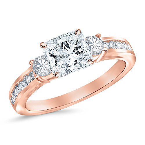 Rose Gold 3 Stone Channel Set Princess Cut Diamond Engagement Ring with a 0.51 Carat GIA Certified Princess Cut K Color VS2 Clarity Center Stone