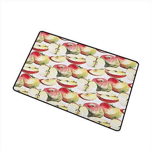 Lindsay Gosse Apple-Fußmatte Halbiertes und Viertel-organisches McIntosh-Apfel-Feinschmecker-Lebensmittel-gesundes Leben-Fußmatte Boden-Elfenbein-Rot Reseda-Grün