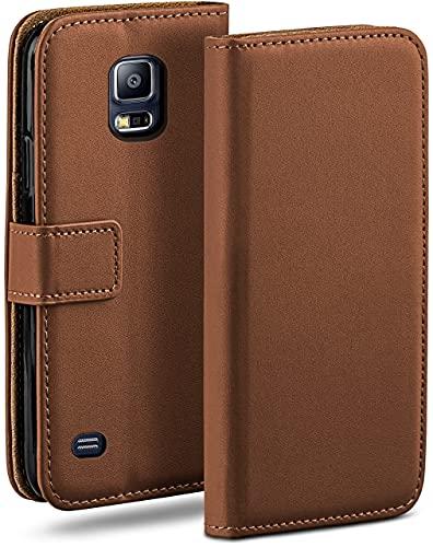 moex Klapphülle für Samsung Galaxy S5 / S5 Neo Hülle klappbar, Handyhülle mit Kartenfach, 360 Grad Schutzhülle zum klappen, Flip Case Book Cover, Vegan Leder Handytasche, Sattelbraun