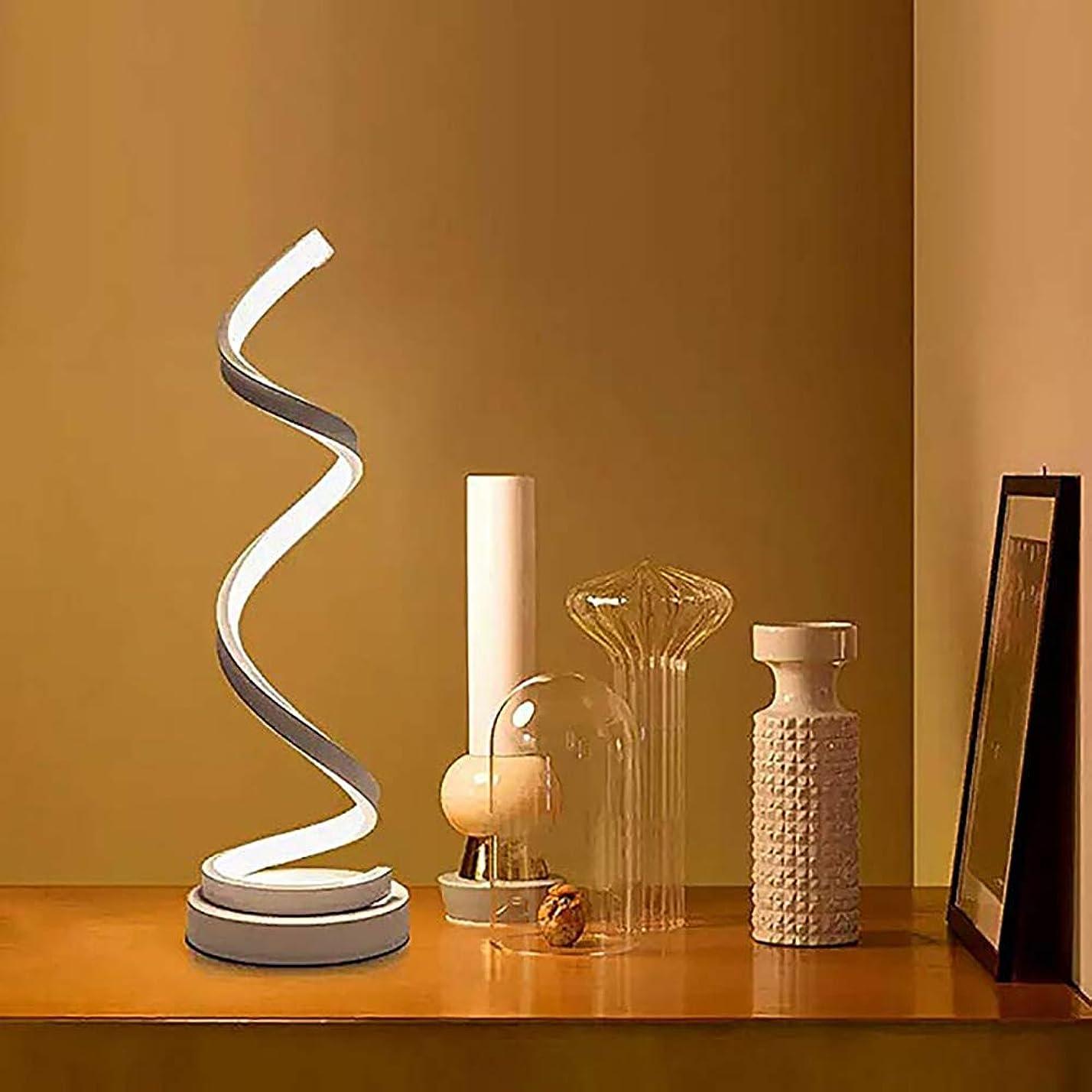 毎回アーカイブ発見する湾曲したLEDデスクランプLEDスパイラルテーブルランプ、モダンなデスクのベッドサイドランプ、リビングルームと寝室の調光可能な暖かい白色光、EUプラグ