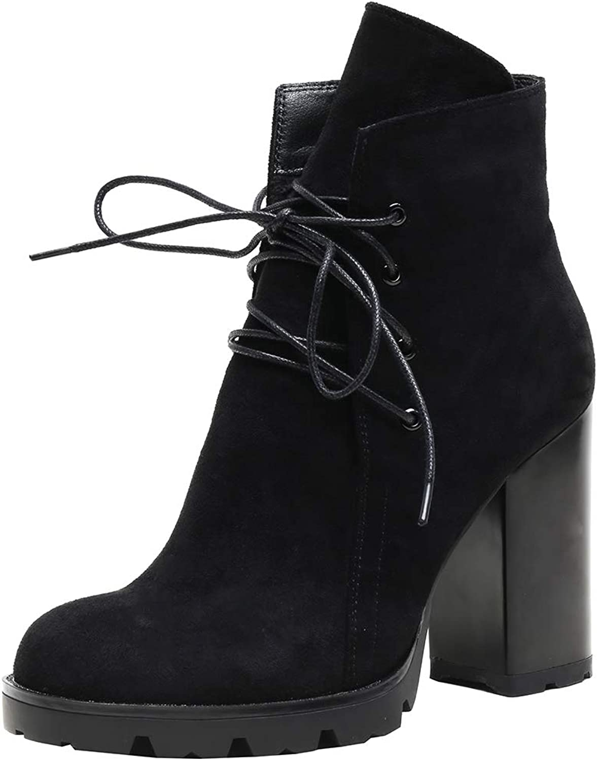 Sofree Women's Mid Calf Stretch high Heel Ankle Boots