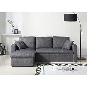 Canapé d'angle convertible en lit 2 places, pour un couchage 120x190 cm. Dépliage rapide et rangement rapide grâce à la fonction tiroir.