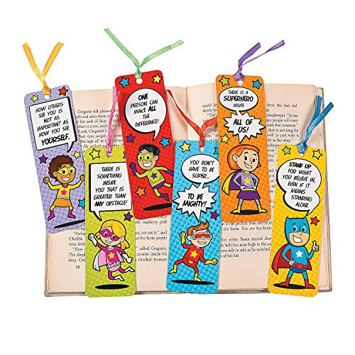 Fun Express Laminated Superhero Bookmarks - 48 Pieces - Educational and Learning Activities for Kids