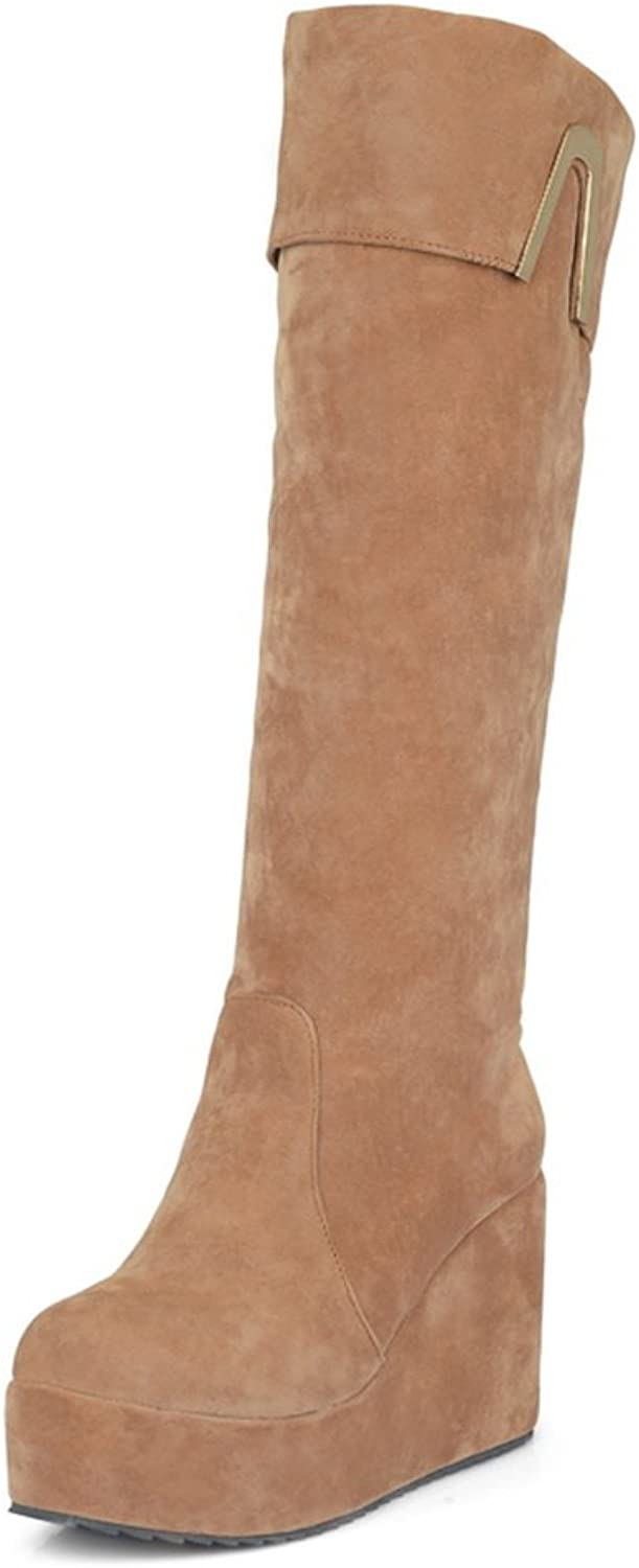 QueenFashion Women's Sexy Style Solid Wedge High Leg Boots with Round Toe