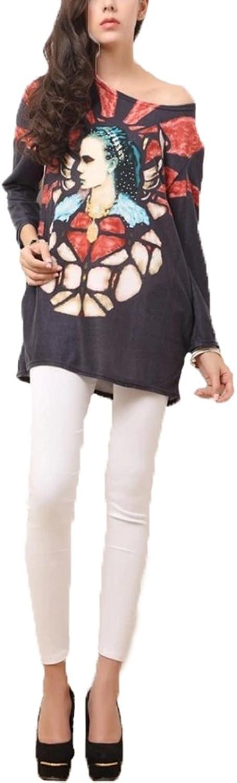 WHMAXIM Women's Flower Print Jumper Thin Sweater Knit Top Long Batwing Sleeves Blouse
