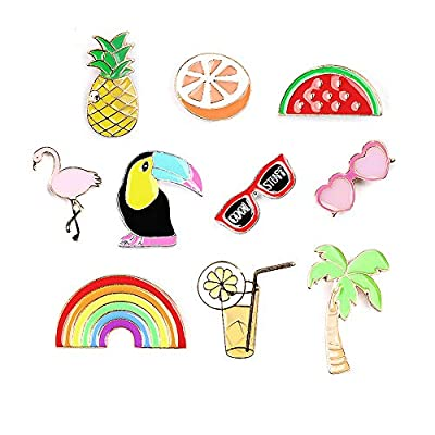 Summer Rainbow Brooch Flamingo Pins Fun Pins-Enamel Lapel Pins Sets Pineapple Watermelon Fruit Brooch