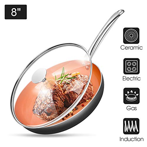 8' Copper Nonstick Frying Pans with Lid - Chef's Classic Skillet with 100% PFOA-Free, Saucepan Ceramic Titanium Coating with Frying Pan, Professional Round Aluminum Saute Pan for Gas, Electric Cooktop