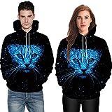 2018, Plus Size Unisex 3D Digital Print Cat Pullover Hoodies Pockets Sweatshirt (X-Large, Black)