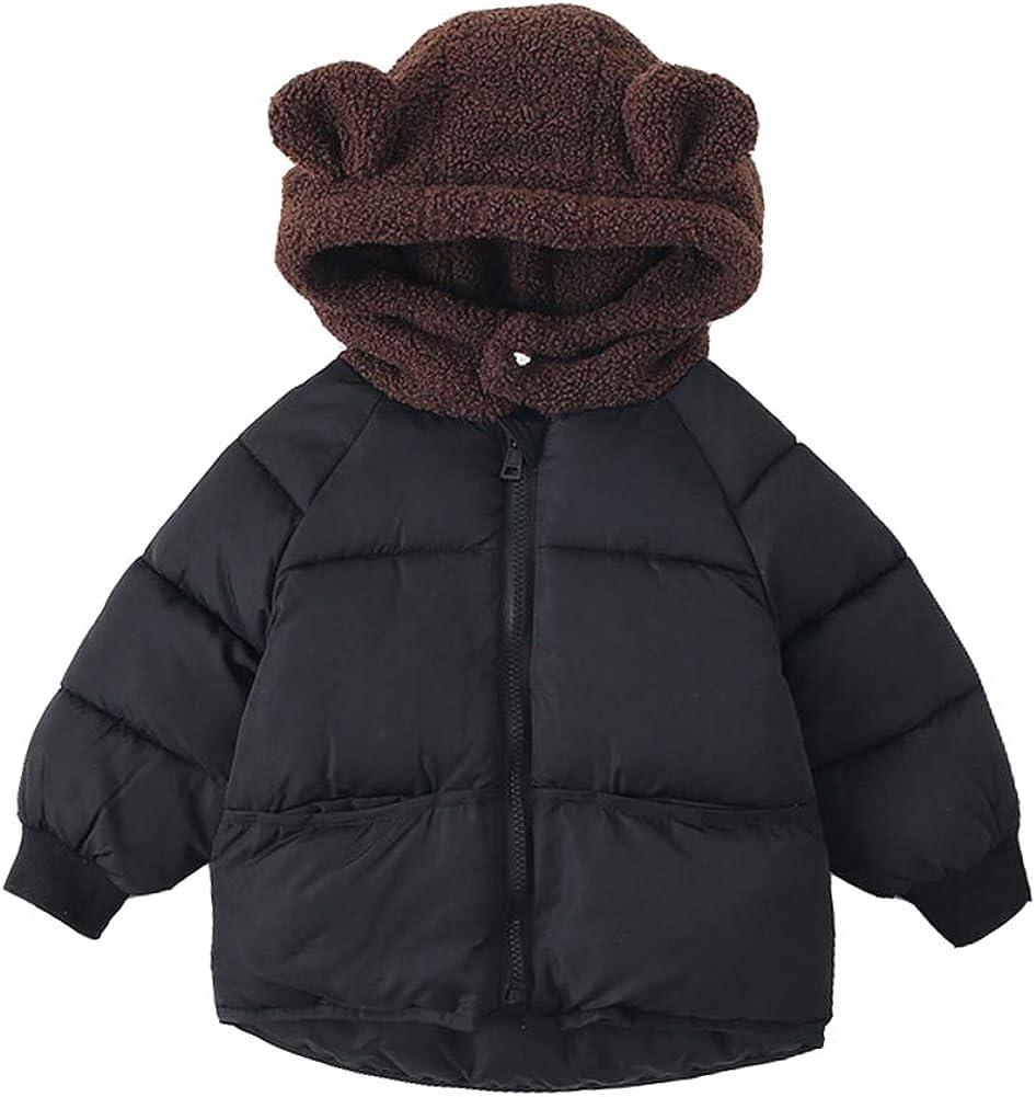 XINXINHAIHE Unisex Kids Long Sleeve Coat Winter Cotton Letter Print Hooded Down Jacket