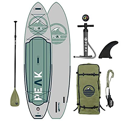"Peak Expedition Inflatable Stand Up Paddle Board — Durable Lightweight Touring SUP with Stable Wide Stance — 11' Long x 32"" Wide x 6"" Thick (Moss)"