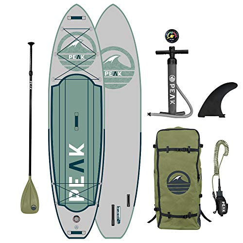 Peak Expedition Inflatable Stand Up Paddle Board — Durable Lightweight Touring SUP with Stable Wide Stance — 11' Long x 32
