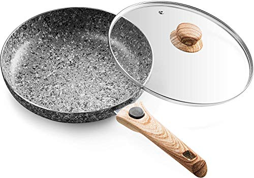 Mitbak 10-Inch Non-Stick Frying Pan with Lid | Granite Coating Nonstick Skillet with REMOVABLE Heat-Resistant Wooden Handle | Premium Cooking & Kitchen Utensil | Induction Compatible