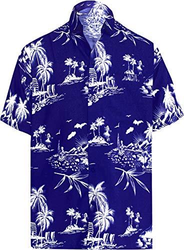 LA LEELA Funky Camisa Hawaiana Señores Manga Corta Bolsillo Delantero impresión De Hawaii Playa Colores...