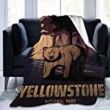 TENJONE Ultra-Soft Fleece Blanket for Adult Anti Fleece Blanket,Cartoon Design Poster Graphic with Yellowstone National Text Park Bear and Forest,Soft Comfortable Sofa Throw Blanket 60 inch x50 inch