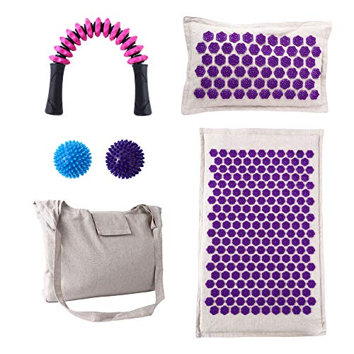 Acupressure Mat and Pillow Set  Covered with Organic Linen Cotton and Filled with Natural Coconut Fiber with Pillow 2pcs Spiky Massage Balls Muscle Roller Stick and Carrying Bag