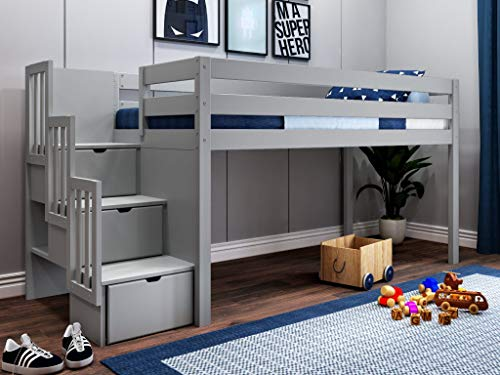 JACKPOT! JP-ST Gray Contemporary Low Twin Stairway, Loft Bed