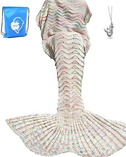 LAGHCAT Mermaid Tail Blanket Knit Crochet Mermaid Blanket for Adult, Oversized Sleeping Blanket, Wave Pattern (71 x 35.5 Inch, Beige)