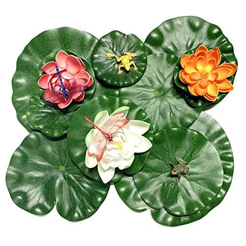 PietyPet Schaum Seerose Blume und Floating Eva Lotusblatt mit Künstliche Libelle, Frosch für Aquarium Terrasse Garten Pool Garten