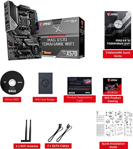MSI MAG X570 TOMAHAWK WIFI Motherboard (AMD AM4, DDR4, PCIe 4.0, SATA 6Gb/s, M.2, USB 3.2 Gen 2, AC Wi-Fi 6, HDMI, ATX)