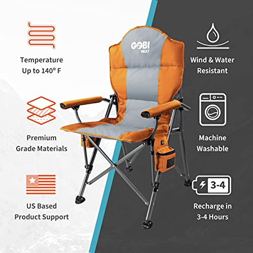 Terrain Heated Camping Chair - 9 hrs of Heat | with Battery & Charger | 3 Heat Settings