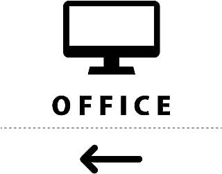 オフィス 事務所 OFFICE 案内 シール ステッカー(矢印付き) HOME STYLE カッティングステッカー 光沢タイプ・防水 耐水・屋外耐候3~4年【クリックポストにて発送】 (黒, 72)