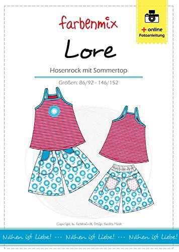 Farbenmix Lore Schnittmuster (Papierschnittmuster für die Größen 86/92-146/152) Hosenrock und Top