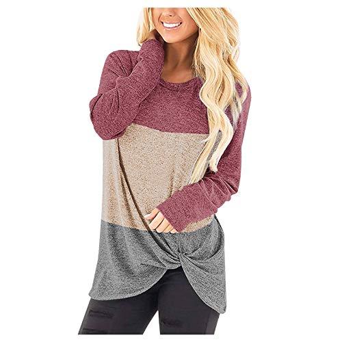 Sweatshirt Pullover Oberteile Frauen Freizeit Rundhals T-Shirt Bluse Top Frauen Farbe Matching Stitching Knotted Long Sleeve (S,2Wassermelonenrot)