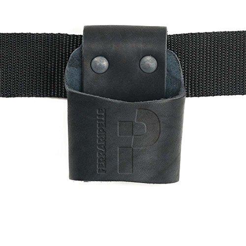 Porta Hammer - en Cuir Vero, Noir, Rivets bleui, Ceinture Inclus