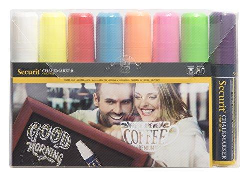 Securit Kreidestift Breit(7-15mm) weiß, rot, blau, gelb, grün, pink, orange, violett (8er Set)