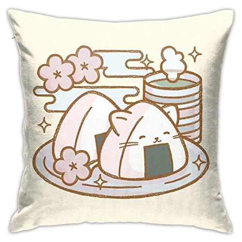 xiancheng Kawaii Onigiri Neko - Funda de almohada cuadrada para cama suave y decorativa para el hogar con cremallera oculta de doble cara
