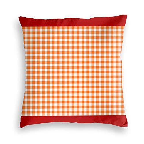 Funda de almohada, color naranja y blanco, patrón de cuadros decorativo cuadrado para sofá, dormitorio, sala de estar, decoración
