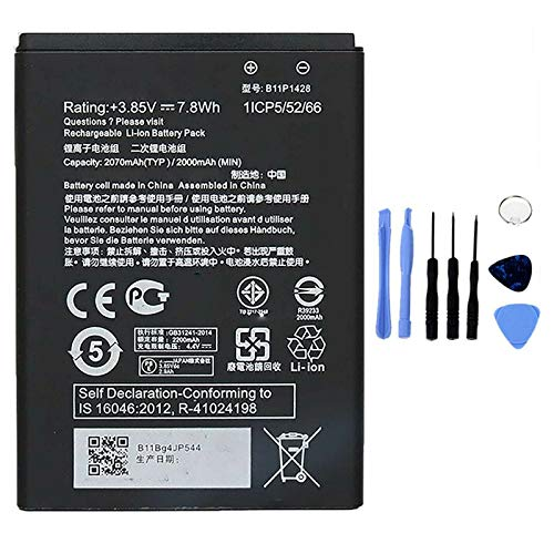Ellenne Batería Compatible con ASUS Zenfone Zenfone Go 4.5 ZB452KG B11P1428 Alta Capacidad 2070 mAh con Kit de desmontaje Incluido