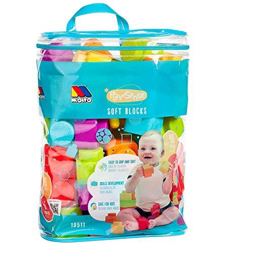 Weiche Bausteine für Babys ab 6 Monaten 48 Teile tlg Babyspielzeug Spielzeug Kinder Erste sensorische Entwicklung leicht greifbar in praktischer Reißverschlußtasche Bunt Stecksteine Bauklötze Blocks