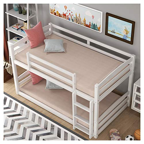 Pine Wood+MDF Twin Over Twin Bunk Bed -Separable -Detachable Guardrails Included Built-in Ladder Included Suitable for Family Bedroom or Apartment Dormitory No Need for Spring Box-Easy Assembly