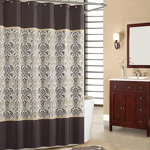 SDLIVING Sterling Brown Shower Curtain,Chocolate Polyester Fabric Shower Curtain,Vintage Shower Curtains for Bathroom,Damask Bathroom Curtain,Printed Waterproof Shower Curtain,72 inches W x 78 inches