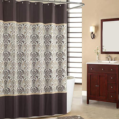 SDLIVING Duschvorhang, Sterlingsilber, Schokoladenbraun, Polyester, Duschvorhang, Vintage-Duschvorhänge für Badezimmer, Damast-Badezimmervorhang, bedruckt, wasserdicht, 182,9 x 198,1 cm