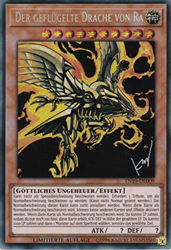 TN19-DE009 - Der geflügelte Drache von Ra - Prismatic Secret Rare - Yu-Gi-Oh - Deutsch - 1. Auflage im Set mit Ultra Pro Toploader und Ultra Pro Schutzhülle (Klarsicht)