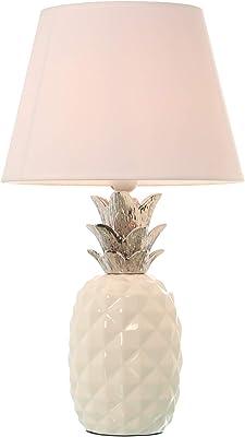 DRW Lampe de bureau en céramique en forme d'ananas en blanc et argent 14,5 x 30 cm