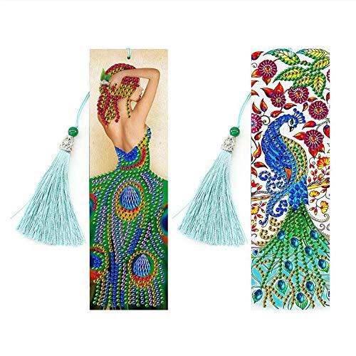 Wacemak1r - Segnalibri 5D per pittura a diamante, con bella nappa, motivo mandala, idea regalo per la festa della mamma, San Valentino, ricami con strass, fai da te