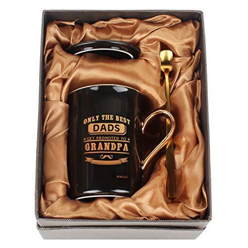 Whatcha Just the Best Dads Get Promoted to Grandpa - Tazas de café divertidas para cumpleaños, día del padre, Navidad, regalo para abuelo, padre, hombres, de cerámica, 11 onzas