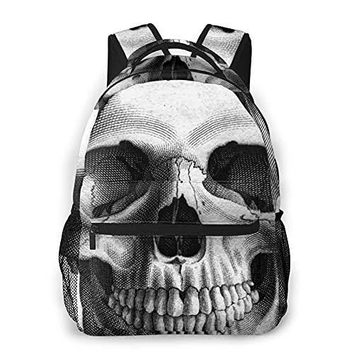 BYTKMFD Sketch Skull Mochilas para libros escolares, bolsa de transporte ligera de viaje, Negro, Talla única