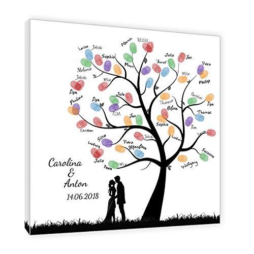 galleryy.net Fingerabdruck Baum Leinwand *50x50* mit Namen & Datum - INKL Zubehör-Komplettset