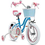 Royalbaby Girls Bike Stargirl 14 Inch Girl's Bicycle With Training Wheels Basket Child's Girl's Bike Blue