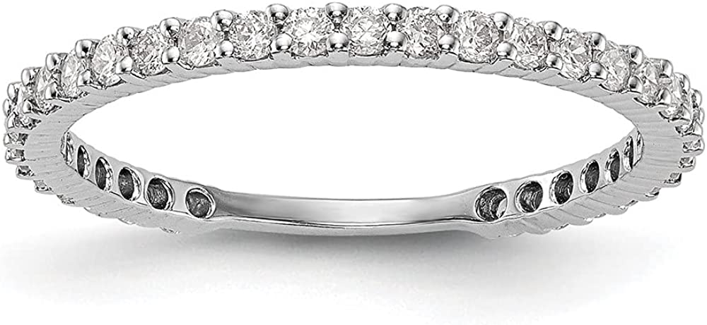 14k White Gold Diamond Wedding Ring Band Size 7.00 Bridal Fine Jewelry For Women Gifts For Her