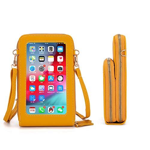 Pequeño bolso bandolera para teléfono móvil, para mujer, para pantalla táctil, monedero, bolso de mano, monedero con tarjetero, correa para el hombro, amarillo, talla única