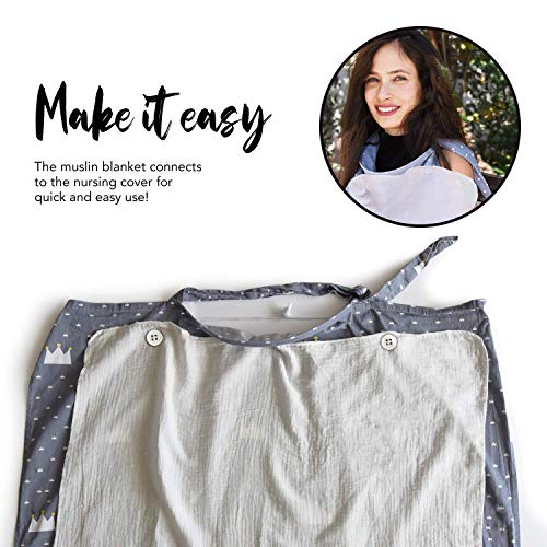 Nursing Cover for Breastfeeding with 2 Pockets - Adjustable Breastfeeding Apron - Matching Carry Bag - 100% Soft Breathable Cotton for Full Cover Feeding w/Attachable Muslin Baby Blanket - Grey