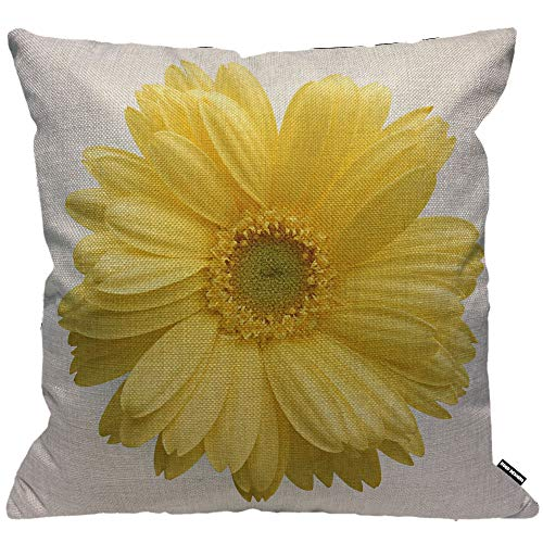 HGOD DESIGNS Cushion Cover Yellow Sunflower on White Background,Throw Pillow Case Home Decorative for Men/Women Living Room Bedroom Sofa Chair 18X18 Inch Pillowcase 45X45cm