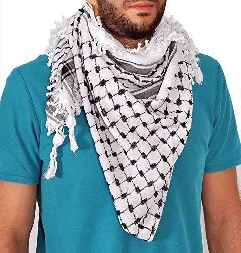 Black & White Arab Cafia Keffiyeh Middle Eastern Shemagh Scarf Wrap Turban